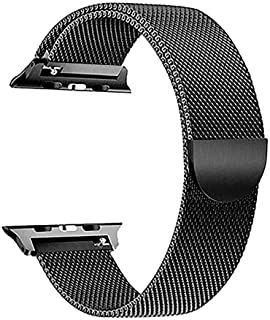 SKEIDO Milanese Loop for Apple Watch 44mm 42mm, Stainless Steel Alloy Replacement Watch Band for iWatch Series 4/3/2/1 (Bl...