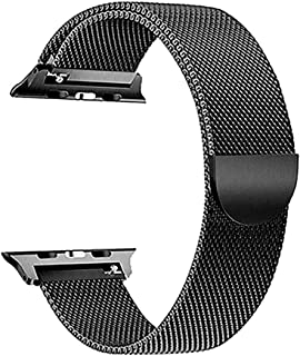 Milanese Loop for Apple Watch 44mm 42mm, Stainless Steel Alloy Replacement Watch Band for iWatch Series 4/3/2/1 (Black)