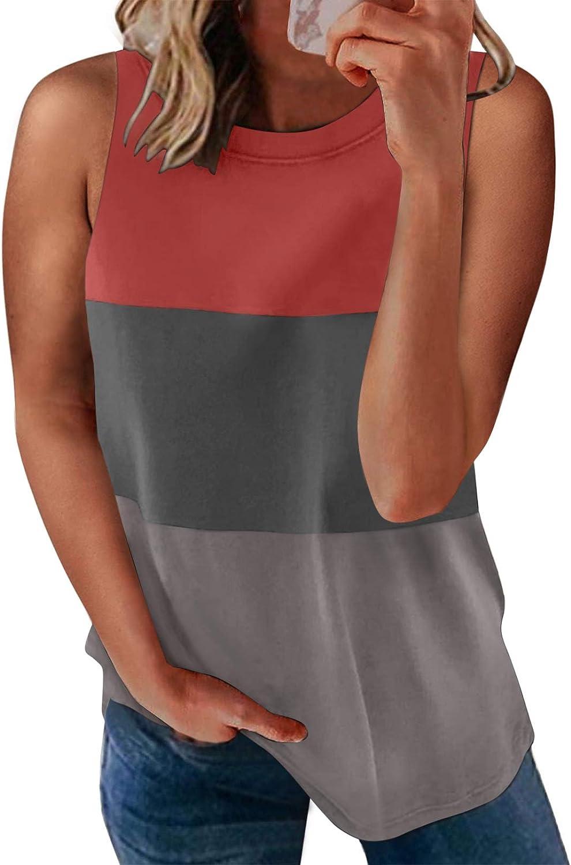 HOTAPEI Women's Round Neck Sleeveless Striped Tank Tops Print Pattern Blouses Shirts (S-XXL)