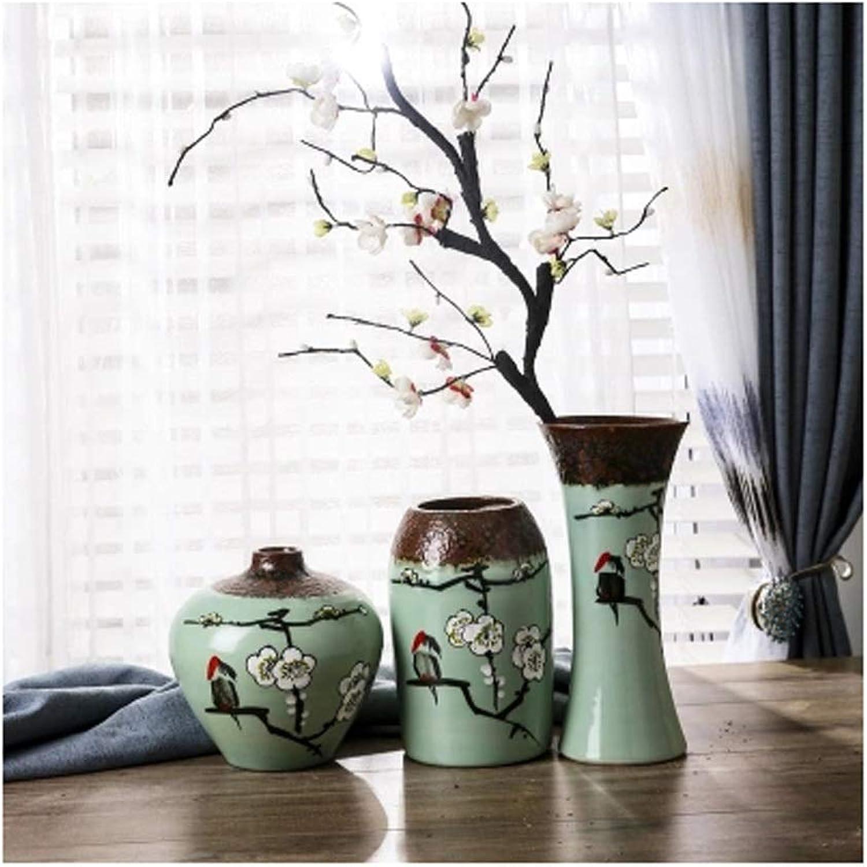YJWOZ Vase en céramique Vase Sec décoration Trois pièces Salon décoration OrneHommests Vase (Taille   14×22cm)