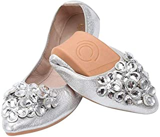 Women's Wedding Flats Rhinestone Slip On Foldable Ballet Shoes