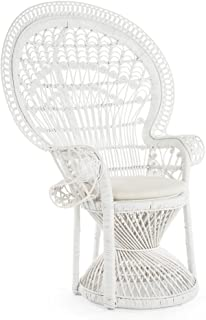 Kouboo 1110023 Pecock Grand Peacock Chair in Rattan with Seat Cushion, White, Large