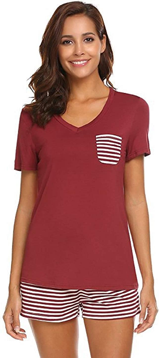 Cicilin Women's Pyjama Set Summer Short Sleeve T-Shirt Top and Shorts Pyjamas PJ Set Soft Modal Nightwear Sleepwear Loungewear (Red S)
