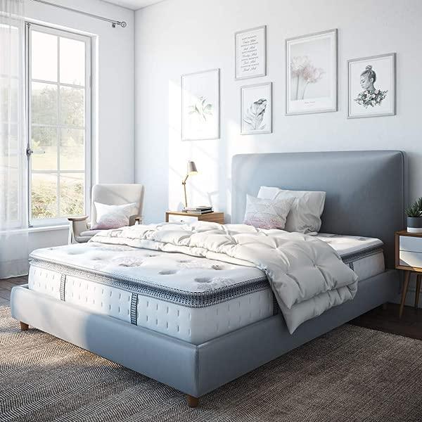 Classic Brands Mercer Pillow Top Cool Gel Memory Foam And Innerspring Hybrid 12 Mattress Queen White