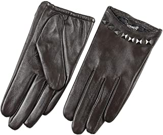 SHENTIANWEI Women's Leather Gloves Thin Touch Screen Silky Lined Driving Short Gloves (Color : Brown, Size : S)