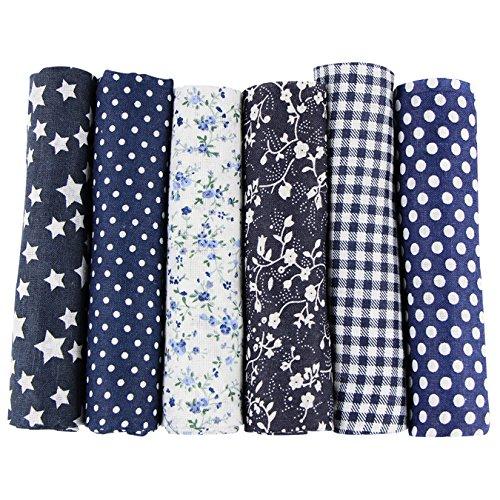 UOOOM Lot de 6pcs 50 x 50 cm Patchwork Coton Tissu DIY Fait à la main en tissu à coudre Quilting Designs Différents (Tone-Navyblue)