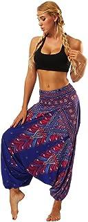 Mujer Pantalones Harem Boho de cintura alforzada del Flaral Espiral (Purple B, One Size)