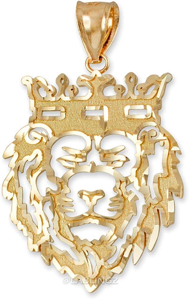LA BLINGZ 10K Yellow Gold DC Lion King Mens Pendant (L)