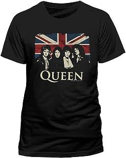 Queen Camiseta Vintage Union Jack para hombre, color negro