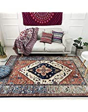 Traditional Vintage Style with Floral Area Rugs Carpet, Red, Easy to Clean Soft Living Dining Room