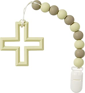 C.R Gibson BTEE-24017 Silicone Beads and Cross Baby Teething Toy, 11.25'' L x 2.5'' W