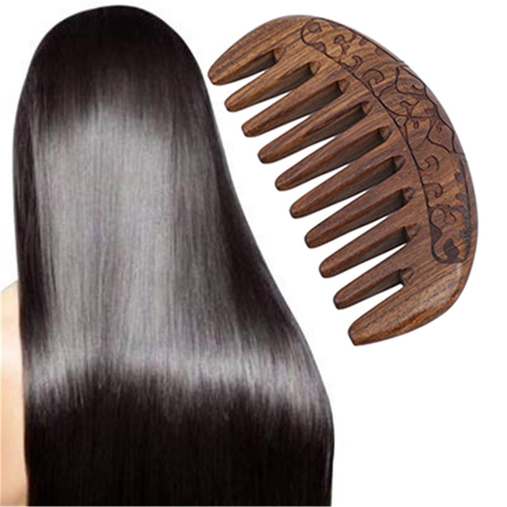 Kshcf Sandalwood Comb Wide-Tooth Natural Large We OFFer at cheap prices discharge sale Hair Curly Double-Sided
