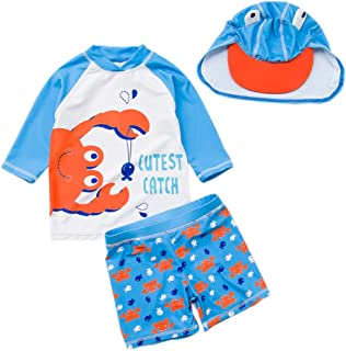 Baby Toddler Boys Two Pieces Swimsuit Set Boys Long Sleeve Crab Bathing Suit Rash Guards with Hat UPF 50+