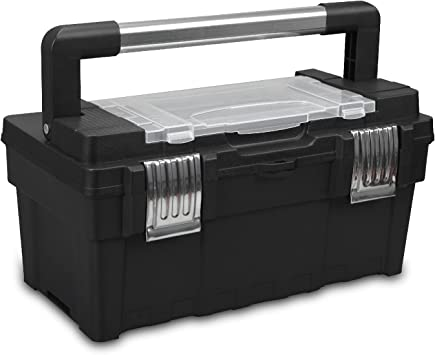 Jack Boss Tool Organizer Box 15.5 Inch Durable Tool Storage Box with Portable Removable Tray,Alum Alloy Handle,Tool Box with 2 Metal Snap Lock: image