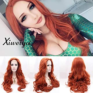 Auburn Cooper red Wig Synthetic lace front wigs Wavy with Heat Resistant Fiber Drag Queen Long Wavy Red Hair Replacement Wig Mera Cosplay Aquaman 24 inch