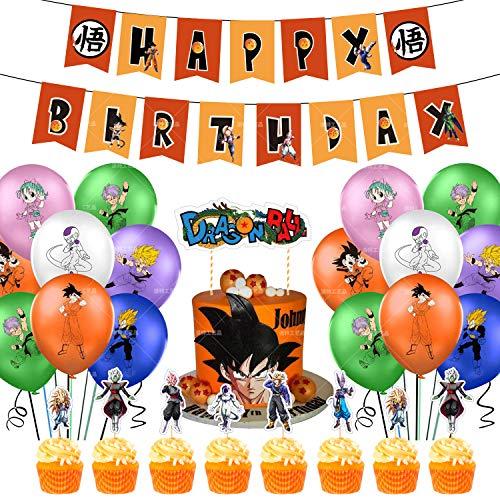Kit de Decoraciones de Cumpleaños de Dragon Ball Globos de Látex de Dragon Ball Cupcake Toppers Pancarta de Fiesta de Goku Suministros de Fiesta Temáticos