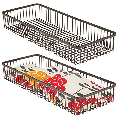"""mDesign Metal Farmhouse Kitchen Cabinet Drawer Organizer Tray - Storage Basket for Cutlery, Serving Spoons, Cooking Utensils, Gadgets - 15"""" Long, 2 Pack - Bronze"""