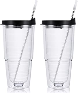 Clear Insulated Tumbler Set of 2, Double Wall Tumbler with Black Lid, Suitable Insulated Tumbler for Cold and Hot Drinks, Reusable Plastic Tumbler for Festival Party Daily Life, 24 Oz
