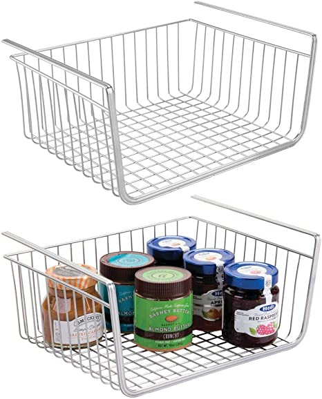 Amazon Com Mdesign Household Metal Under Shelf Hanging Storage Bin Basket With Open Front For Organizing Kitchen Cabinets Cupboards Pantries Shelves Large 2 Pack Chrome Home Kitchen