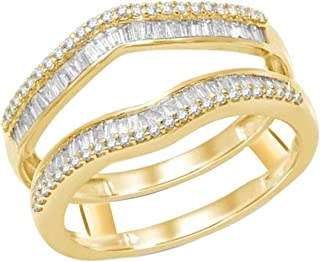 OMEGA JEWELLERY 1/2 ct Natural Round and Baguette Diamonds Enhancer Wrap Guard Ring 14K Yellow Gold Over