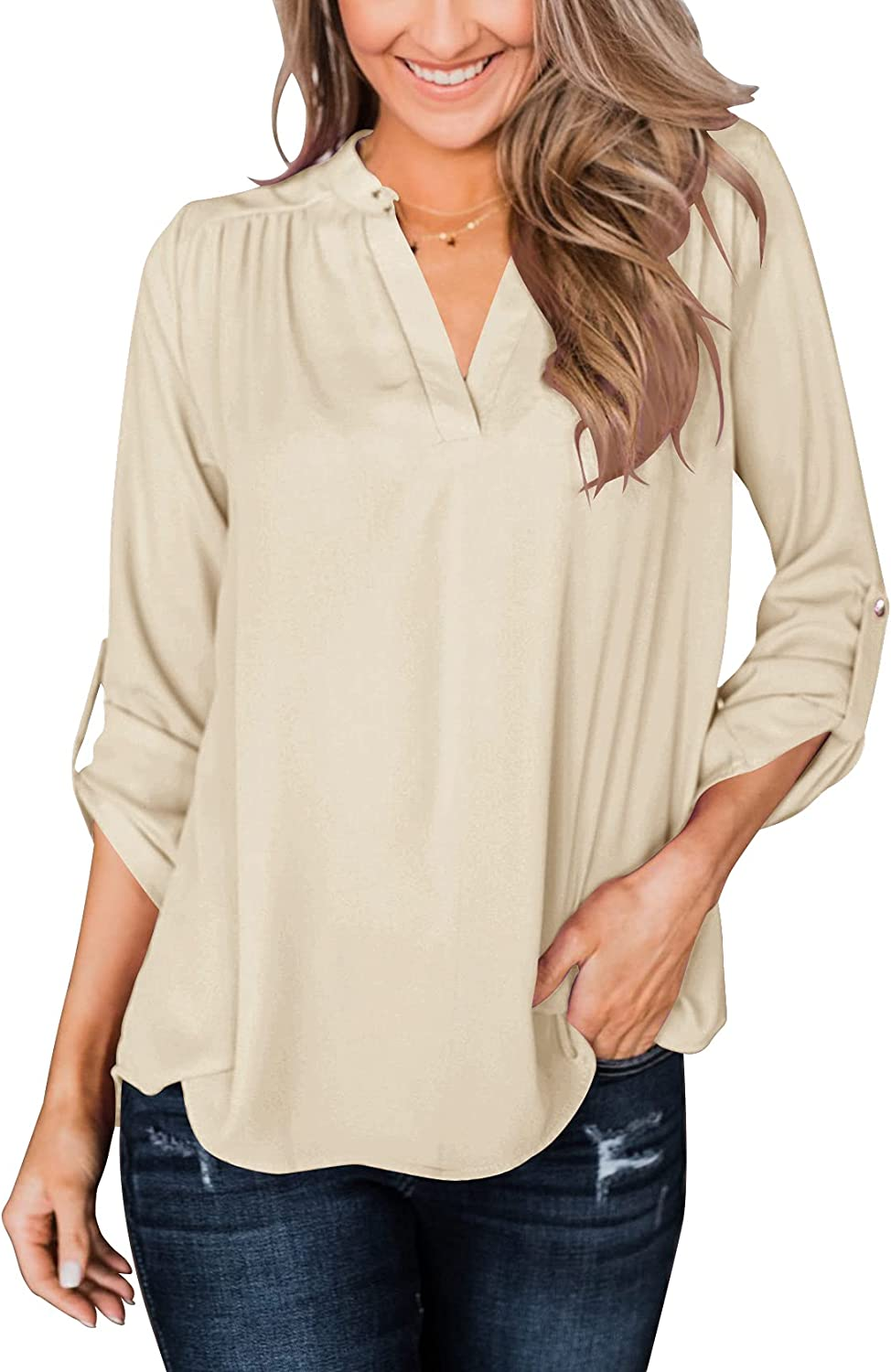 Dbtanjy Women's V Neck T Shirts Roll Up Sleeve Tunic Tops Button Down Blouses