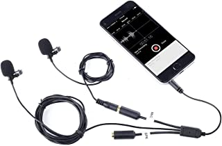 Movo Professional Lavalier Lapel Clip-on Interview Podcast Microphone with Secondary Mic and Headphone Monitoring Input fo...