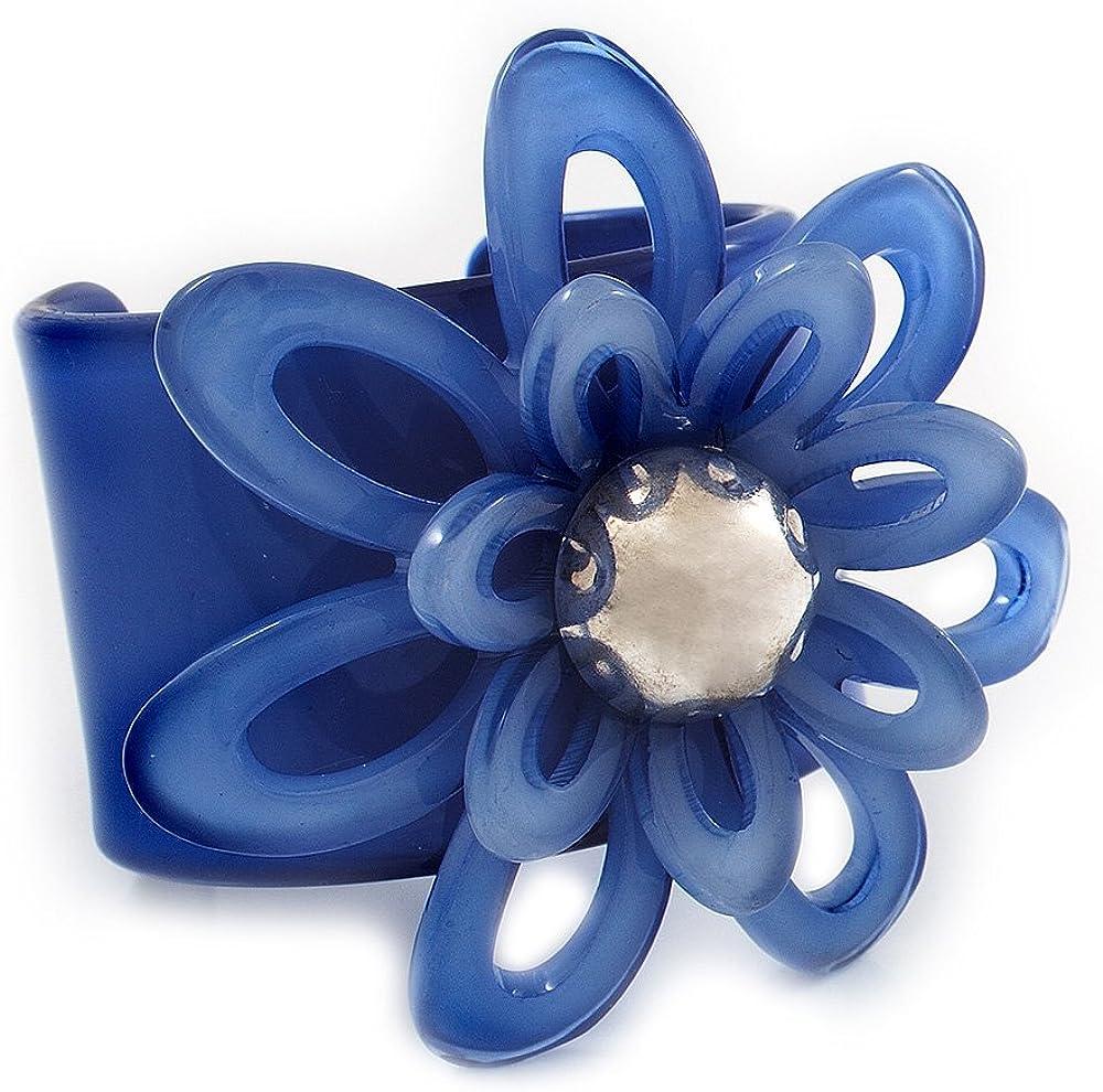 Avalaya Violet Blue Wide Acrylic Floral Cuff Bangle