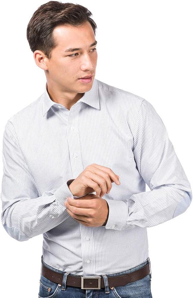 ALLBOW Camisa a Rayas Azul Blanco Hombre, Manga Larga, Regular Fit, Business Casual