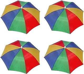 4 Pack Umbrella Hat Cap Hands Free with Head Strap for Sun Rain