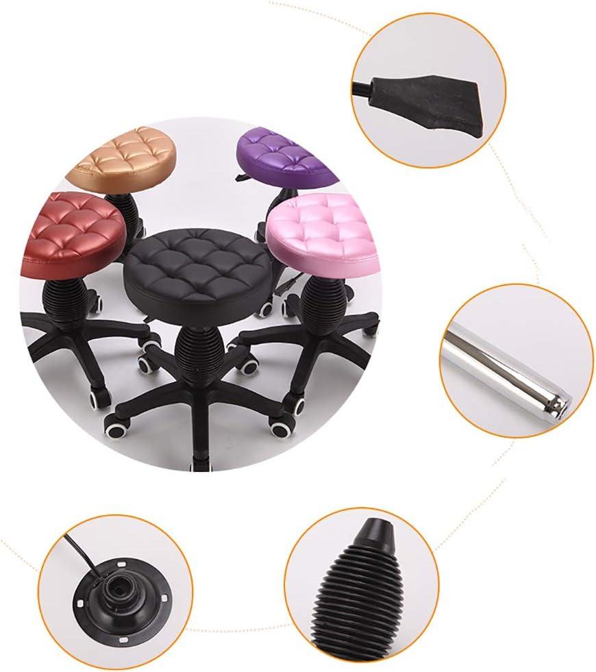 HSRG Tabouret de Spa Roulant Chaise de Bureau Tabouret de Bureau Pivotant Réglable avec Roues pour la Maison, Le Bureau, Le Massage, Le Spa, l'Esthéticienne Black