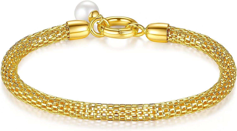 Al&Tiffy Bracelets for Women 18K Real Gold,18K Gold Bracelet for Women , Gold Bangle bracelets for Women, 5mm Mesh Link Gold Chain Bracelet, Pearl Bracelets for Women Girls Dainty Gold Plated 7.5 Inch