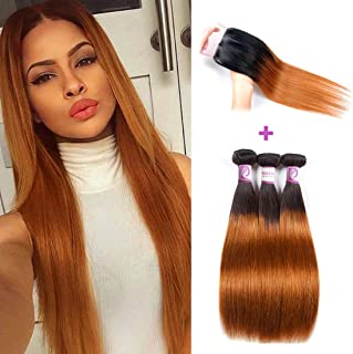 Racily Hair 1B/30 Ombre Brazilian Hair Straight 3 Bundles with Closure Black to Dark Brown Silky Straight Virgin Human Hair Free Middle Three Part Lace Closure Baby Hair (14