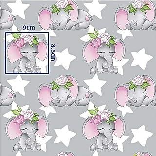 Pingianer Tela de algodón 100 % para niños, por metros, artesanía, tela de costura, diseño de elefante con estrellas, color rosa, 200 x 160 cm