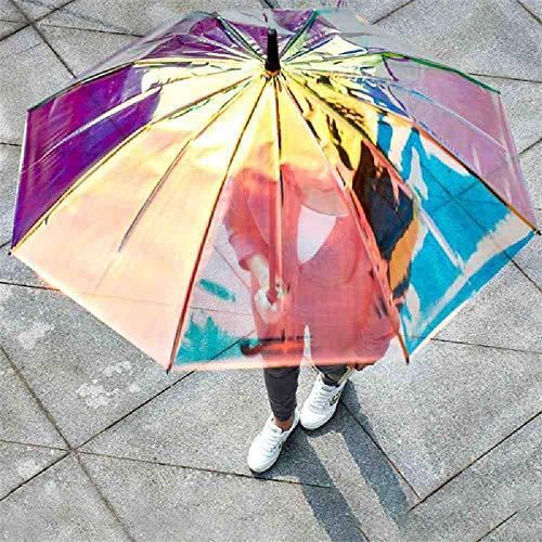 BJDKF paraplu magische kleur paraplu mode regenboog paraplu transparante regen vrouwen lange handvat laser heldere paraplu