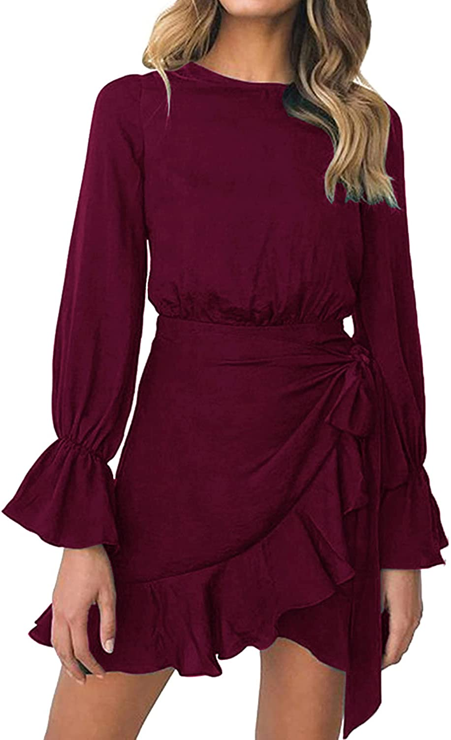 WEEPINLEE Womens Long Sleeve Round Neck Ruffles Wrap Dresses Party Dress