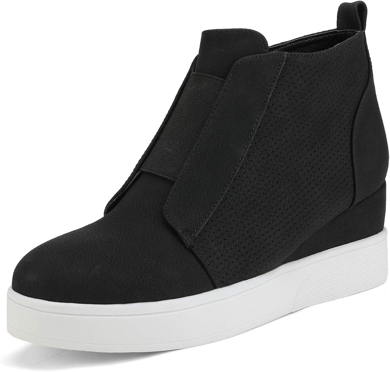 DREAM PAIRS Women's Platform Wedge Sneakers Ankle Booties