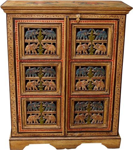 Guru-Shop Geschilderde Olifantenkast, Zijkast, Ladekast met Snijwerk - Model 2, Geel, 96x78x33 cm, Kleine Kasten