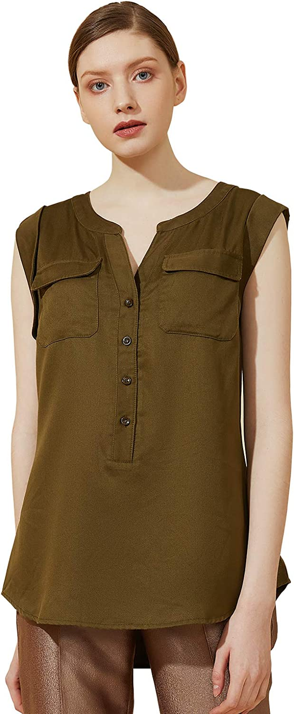 Escalier Women's Sleeveless Denim Shirt Chambray Button Down Blouse V-Neck Jean Shirts Tank Top