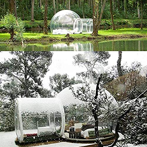 Inflatable Bubble Tent 360° View Clear D-Ring Single Tunnel Bubble House Dome Greenhouse 3-5 People Tent for Camping w/Blower for Indoor/Outdoor...