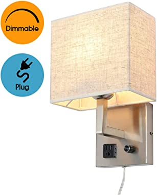 Bedside Wall Mount Light with Outlet and Dimmable Switch, Fabric Shade Wall Sconce Light with Plug in Cord, Perfect for Bedro