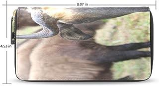 Takin, una especie larga en peligro Cartera larga impresa con cremallera Pu cuero Monedero 12 ranuras Titular de la tarjeta Embrague cartera para damas mujeres