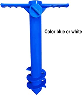 AMMSUN Beach Umbrella Sand Anchor Stand Holder with 3-Tier Screw, One Size Fits All Safe for Strong Wind (Blue)