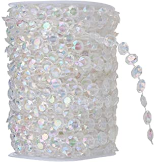 TeTeBak 99ft Clear Iridescence Crystal Like Beads by The roll Wedding Decorations DIY Accessory Decorat Table Cloths