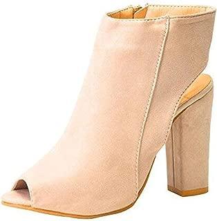 Women's Chunky Block High Heel Sandals Boots Peep Toe Platform Pump Dress Shoes