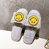 QPPQ Cómodas Pantuflas de algodón,Zapatillas de Felpa sonrientes, Zapatillas de algodón Antideslizantes para el hogar-gris-35-36,Pantuflas de algodón Lavables