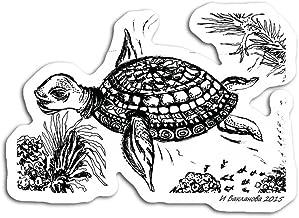 gordonstore Sticker Creature Animal Big Sea Turtle Original Handmade Black and White Drawin Animals Fauna (3