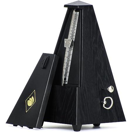 FLEOR Metrónomo mecánico negro estilo piramidal, ideal para usar con teclados de piano, guitarra, violín, tambor de instrumentos musicales