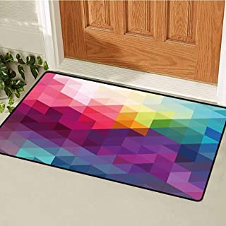 RelaxBear Rainbow Welcome Door mat Colorful Abstract Geometric Pattern with Triangles Polygon and Ohter Shapes Rainbow Door mat is odorless and Durable W31.5 x L47.2 Inch Multicolor