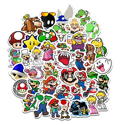 Cartoon Game Super Mario Stickers Children'S Suitcase Guitar Personality Graffiti Stickers Cartoon Stickers 50 Sheets