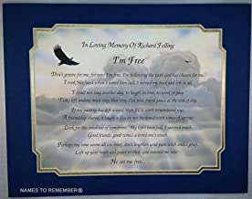 Names To Remember Customized I'm Free Framed Poem Personalized Bereavement Gift On Eagle Art Background w/Royal Blue & Frosted Gold Dual Matte Border
